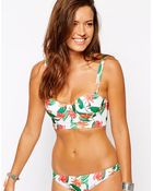 Asos White Japanese Floral Longline Fuller Bust Bikini Top Ddf - Lyst