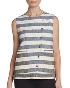 Tibi Striped Blanket Vest - Lyst