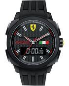 Scuderia Ferrari Men'S Analog-Digital Aerodinamico Black Silicone Strap Watch 46Mm 830123 - Lyst