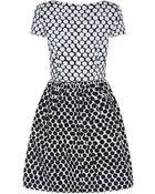 Oscar de la Renta Contrast Dot Stretch-Cotton Dress - Lyst