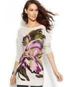 Inc International Concepts Petite Floral-Print Tunic Sweater - Lyst