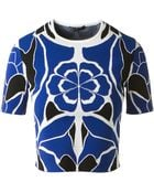 Alexander McQueen Cropped Stretch Floral Printed Top - Lyst