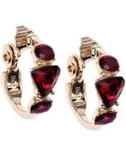 Anne Klein Gold-Tone And Siam Geometric Stone Hoop Earrings - Lyst