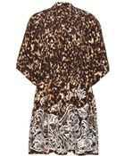 Roberto Cavalli Embroidered Printed Silk Dress - Lyst