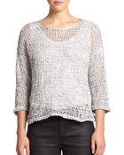 Eileen Fisher Cotton Open-Stitch Sweater - Lyst