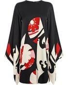 Alexander McQueen Satin Kimono Sleeve Mini Dress - Lyst