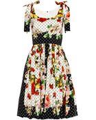 Dolce & Gabbana Floral Polka-Dot Print Dress - Lyst