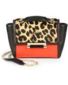 Diane von Furstenberg Mini Leather & Leopard-Print Calf Hair Satchel - Lyst