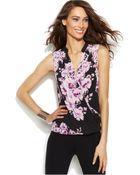 Inc International Concepts Sleeveless Floral-Print Surplice Top - Lyst