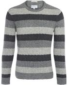 Gant Rugger Grey Stripe Cable Knit Wool Jumper - Lyst