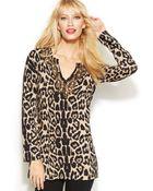 Inc International Concepts Beaded Animal-Print Tunic Sweater - Lyst