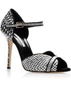 Oscar de la Renta Christina Printed Snakeskin Sandals - Lyst