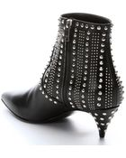 Saint Laurent Black Leather Studded Ankle Booties - Lyst