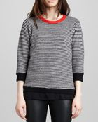 Halston Heritage Striped Contrast-Neck Sweater - Lyst