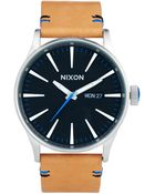 Nixon Sentry Watch with Brown Leather Strap A105 - Lyst