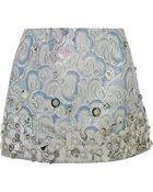 Miu Miu Embellished Metallic Jacquard Mini Skirt - Lyst