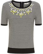 Milly Rhinestone Embellished Stripe Sweater - Lyst