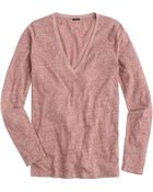 J.Crew Speckled Cotton Long-Sleeve V-Neck Tee - Lyst