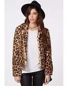 Missguided Serena Cropped Faux Fur Coat Leopard - Lyst