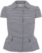 RED Valentino Striped Peplum Jacket - Lyst