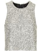 Topshop Monochrome Frayed Boucle Shell Top - Lyst