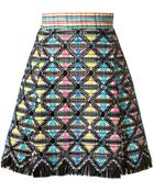 Marco De Vincenzo Pearls Embellished And Crochet Multicolour Skirt - Lyst