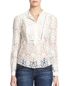 Rebecca Taylor Ruffled Lace Top - Lyst