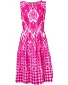 Oscar de la Renta Magenta Ikat Print Dress - Lyst