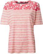 Tory Burch Striped Leaf Print T-Shirt - Lyst
