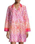 Oscar de la Renta Batik Tiger Lily Swirl Print Sleepshirt - Lyst