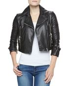 J Brand Aiah Cropped Leather Jacket - Lyst