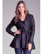 Bebe Chain Trim Leather Coat - Lyst