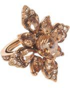 Oscar de la Renta Flower Multi Crystal Ring - Lyst