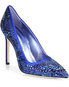 Manolo Blahnik Bb Sparkling Satin Pumps - Lyst