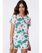 Missguided Pink Tropical Print Pom Pom Detail Shell Top - Lyst