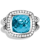 David Yurman Albion Ring With Blue Topaz & Diamonds - Lyst