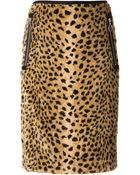 Hache Leopard Print Straight Skirt - Lyst