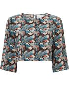 Charlie Brear Fern Print Silk Cropped Top - Lyst