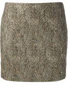 Saint Laurent Metallic Mini Skirt - Lyst
