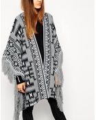 Asos Blanket Cape In Pattern With Fringing - Lyst
