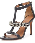 Givenchy Leather Chain T-Strap Sandal - Lyst
