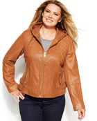 Michael Kors Michael Plus Size Knit-Inset Hooded Leather Jacket - Lyst