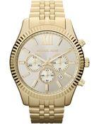 Michael Kors Men'S Chronograph Lexington Gold-Tone Stainless Steel Bracelet Watch 45Mm Mk8281 - Lyst