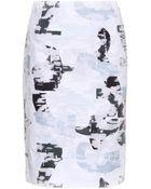 Jil Sander Printed Cotton And Organza Skirt - Lyst