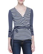 Diane von Furstenberg Behati Striped Knit Wrap Top - Lyst