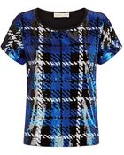 MICHAEL Michael Kors Plaid Sequin Top - Lyst