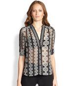 Diane von Furstenberg Harlow Sheer Silk Knot-Print Blouse - Lyst
