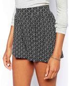 Asos Culotte Shorts In Tile Print - Lyst