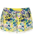 River Island Yellow Floral Print Shorts - Lyst