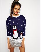 Asos Christmas Jumper with Penguins - Lyst